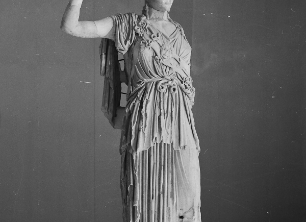 Marble statue of Athena found in the temple of Allat, copy of the sculpture from Phidias' workshop.