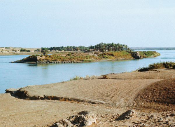 Island on the Euphrates, view from the north–west. Visible walls of the Assyrian fortress and noria, a device used for lifting water for the purpose of irrigation of the fields. (Photo A. Reiche)