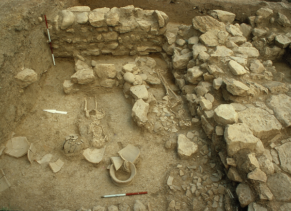 Relics of architecture from the Khabur Ware period (first half of the 2nd millennium BC) and skeletons from a modern-day cemetery (Photo F.M. Stępniowski)