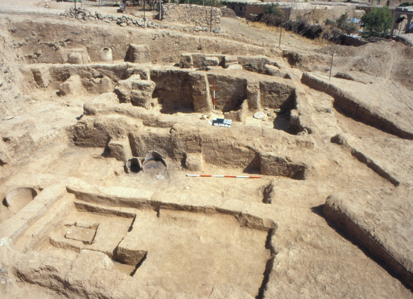 General view of architecture built of dried bricks from the Early Dynastic III period (middle of the 3rd millennium BC); modern village in the background (Photo Andrzej Reiche)