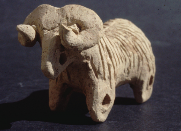 Terracotta figurine of a ram. It could be mounted on wheels and be pulled along on a string which suggests it could have been a toy (second half of the 3rd millennium BC).