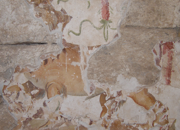 Wall painting in the vestibule of the mithraeum depicting a lion-guard with a cross carved on its body.