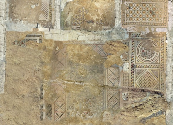 View of the west mosaic decoration from the basilica in Tell Amarna dated to the first half of the 5th century AD, created as a result of computer rendering of many orthogonal photos taken when the mosaic was discovered in 1999 (Virtual Shadow)