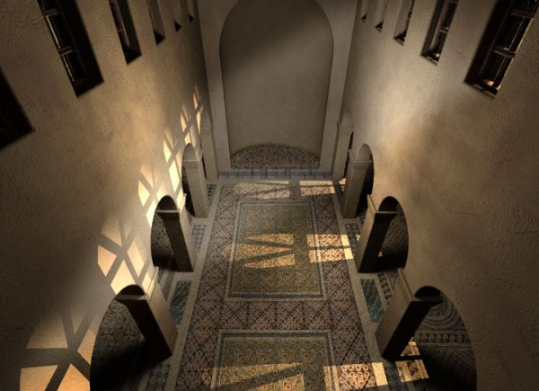 Visualization of the interior of the church, view of the central nave and the apse (Virtual Shadow)